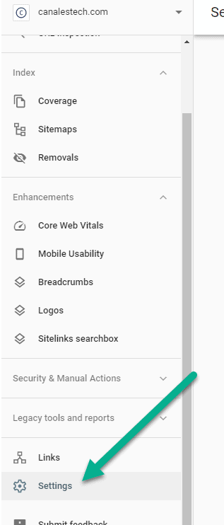 Google Search Console settings button