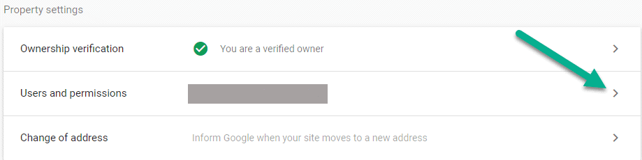 Google Search Console users and permissions property settings window