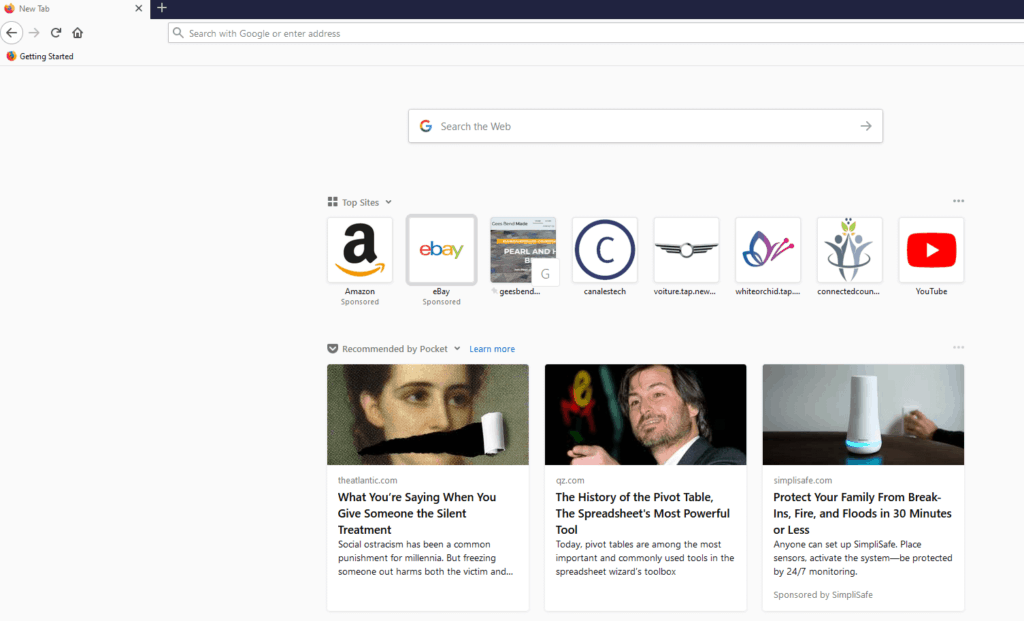 google search in the firefox browser